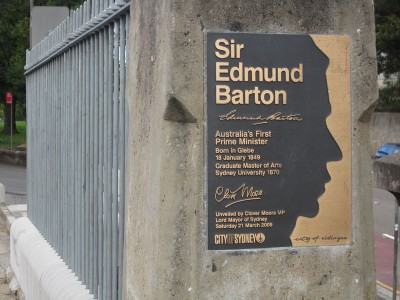 Commemorative plaque to Edmund Barton, who was born in Glebe