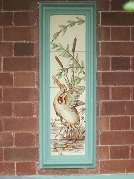 Painted tiles showing Herons fishing