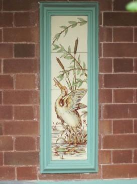 Painted tiles showing Herons fishing
