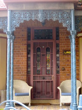 Stained glass door and surrounds, 3 Arcadia Rd