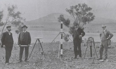 John Kirkpatrick (second from right) was one of the three assessors of the competition to select a plan for the Federal Capital. They are photographed on Camp Hill, Canberra, circa 1911. (Source: National Library of Australia)