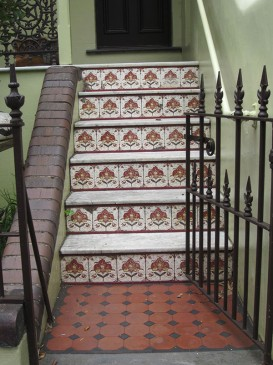 Ornamental glazed risers, 5 Edward Street
